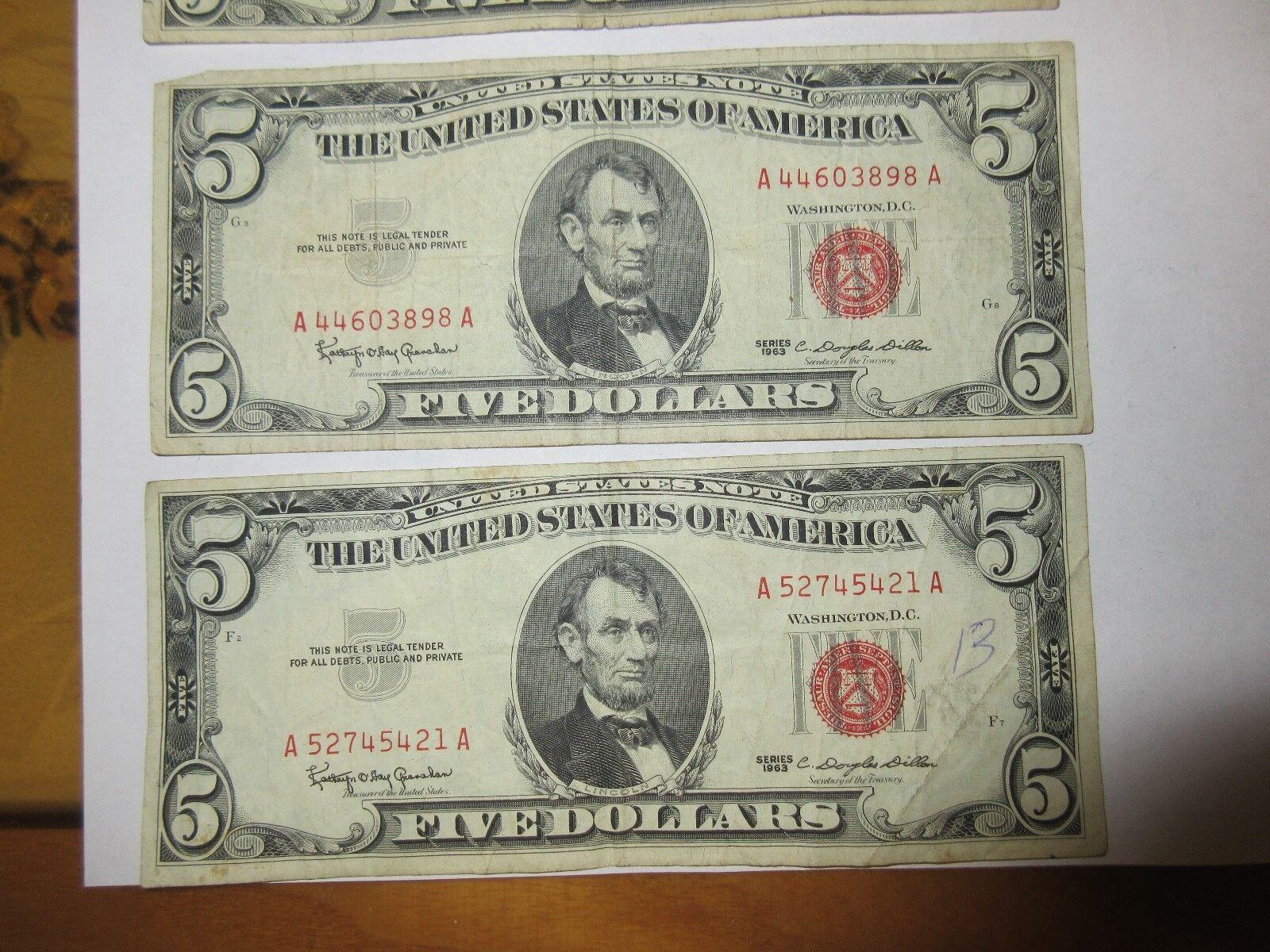 U.S.A. $5 Bills , Red Seal , Lot of 5, Series 1963 , Gr