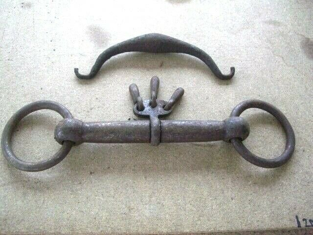 Old Primitive 'Massive' Hand Forged Victorian Iron English Horse Bit Track