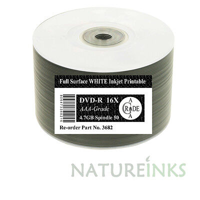 50 Ritek F01 Full Face White Printable blank DVD-R 1x - 16x DVD Discs 4.7GB