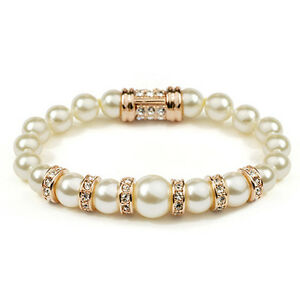 GORGEOUS-18K-ROSE-GOLD-PLATED-amp-GENUINE-AUSTRIAN-CRYSTAL-AND-PEARL-BRACELET