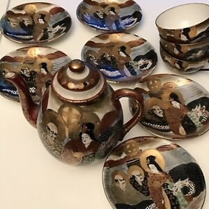 Antique-Japanese-Satsuma-Teapot-Set-Moriage-Japan-Dragon-Gilded-10-Pc-Lot-B13