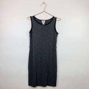 Ann-Taylor-LOFT-Womens-Size-XS-Petite-Gray-Black-Trim-Sleeveless-Shift-Dress