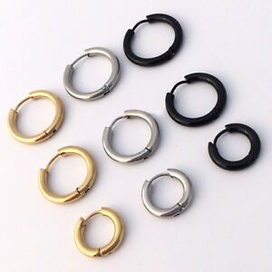 1784f3a63 50pcs Hip hop Men/Women Hoop Ear Stud hinged Earring Hoop Piercing ...