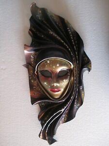 Aria - Maschera veneziana artigianale in ceramica e cuoio