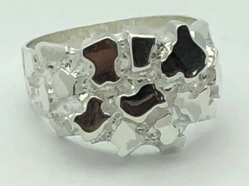 925 Sterling Silver Heavy Nugget Ring Band Taille 7-11