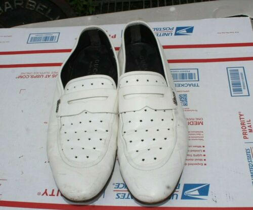 GUCCI MEN'S WHITE LEATHER LOAFERS SIZE U.S 8.5  /