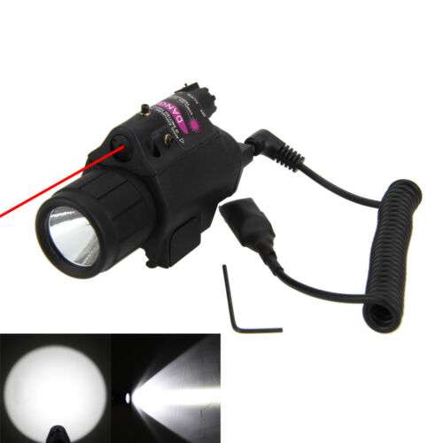 LED Tactical Flashlight+GREEN//RED Laser Sight Combo Picatinny Mount Rail