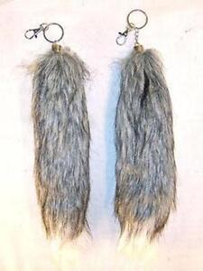 2 GREY   WHITE FOX TAIL KEY CHAIN mens womens car keys ring fur ... 8356c1b91