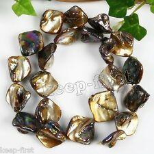 Natural Black Square Irregular Mother Of Pearl Mop Shell Loose Beads 15''