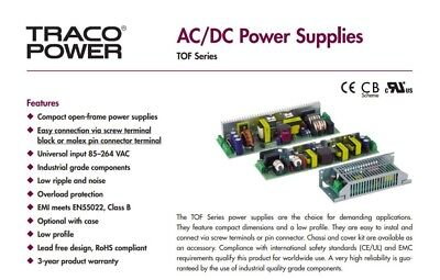 AC//DC Open Frame Power Supply 2 Output Chassis Mount 1 A 1 A 30 W 15 V -15 V PSU