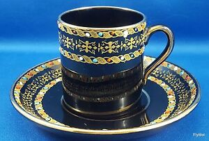 Antique-Gibson-Sons-Italian-Border-Demitasse-Cup-Saucer-Enameled-Dots-on-Black