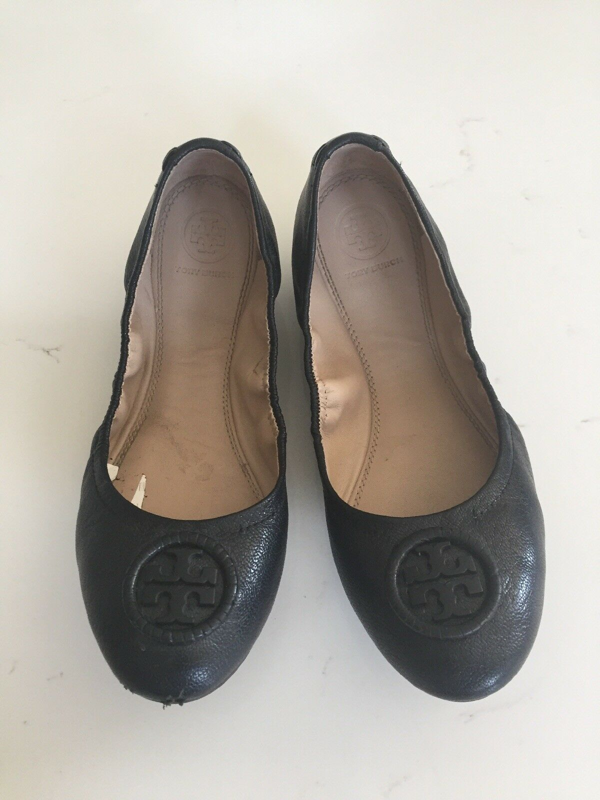 Tory Burch Allie Black Leather Wrapped Logo Ballet Flat Shoe Size US 7.5