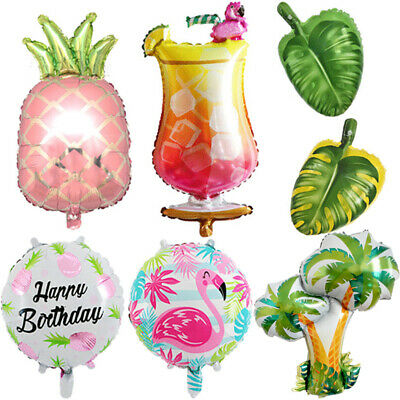 Palm tree Tropical Leaves Hawaiian Foil Balloon Pineapple Flamingo