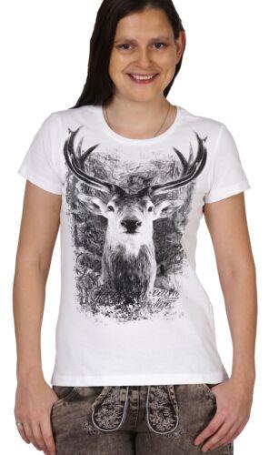 Damen Trachtenshirt Trachten T-Shirt Frauen Volksfest Oktoberfest Hirsch weiss