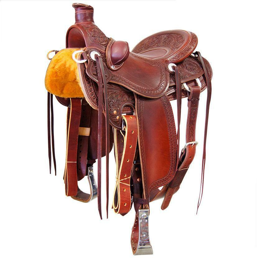 Western Havana Leather Roper Ranch Hand Tooled and Carved 16  Saddle 29