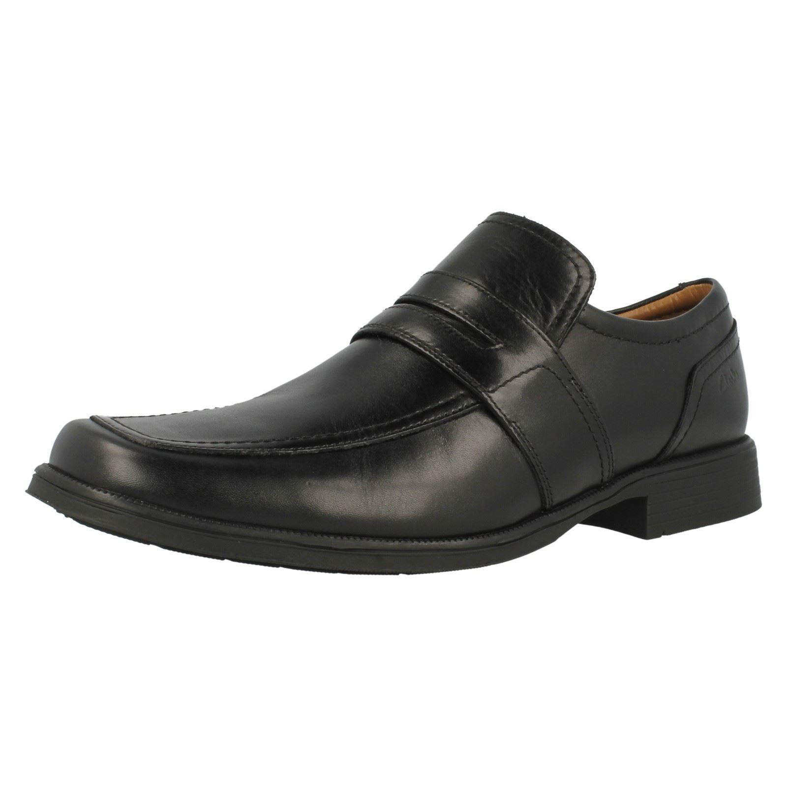 Herren Clarks huckley Works schwarzes Leder elegant Slip On Schuhe G PASSFORM
