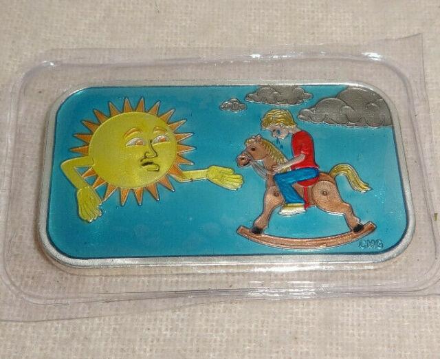 Sunshine SUNNY DAY Enameled Blue 1 oz .999 Silver Bar CMG Mint