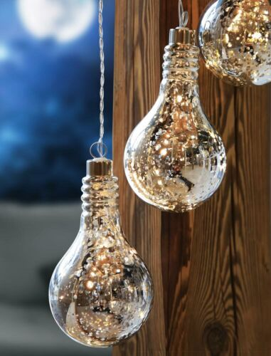 LED Deko Decken Hänge Lampe Glühbirnen Design Akku Glas Pendel Leuchte silber