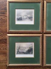 Set 4 Danube Vintage Antique Print Landscape Vintage Wood Frame w Green Mats