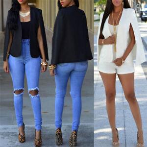 Mode-Femmes-Slim-revers-Cape-Casual-Business-Blazer-Costume-Veste-Manteau-BB