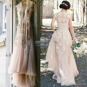 Vintage Blush Tulle Wedding Dresses 2016 Cap Sleeve Appliques Lace Bridal Gowns