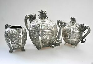 Antiques Antique Chinese China Export Solid Silver Tea Set Pot Bowl Creamer 1850