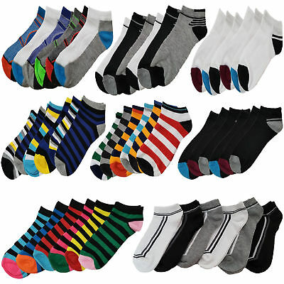 6 Pairs Mens Trainer Liner Ankle Socks Funky Designs Adults Sports Gym Ski 6-11