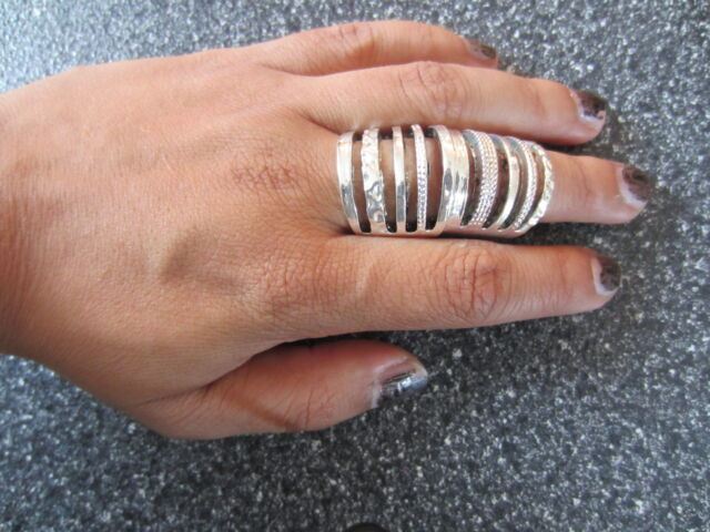 Hot Silver Metal Armour Knuckle Cage Hinged Double Full Finger Shield Armor RING