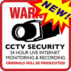 3 CCTV SECURITY CAMERA WARNING SIGNS & 3 FREE WINDOW DECAL STICKERS - 8 STYLES