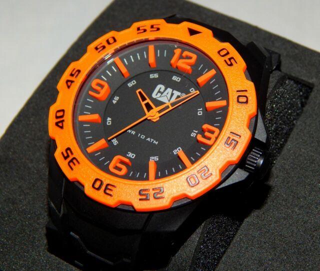 Men's CAT Caterpillar Motion Black and Orange Rubber Strap Watch LB14121134