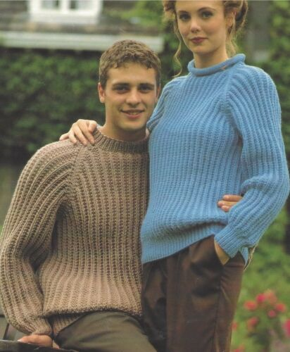 "Easy Knit Sweater Knitting Pattern in 4ply DK Aran Chunky 34-46/"" Ladies Mens1033"