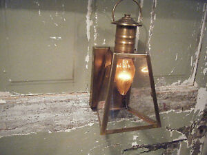 Vintage Solid Brass Light Fixture Sconce Wall Porch Century Antique Patina Lamp