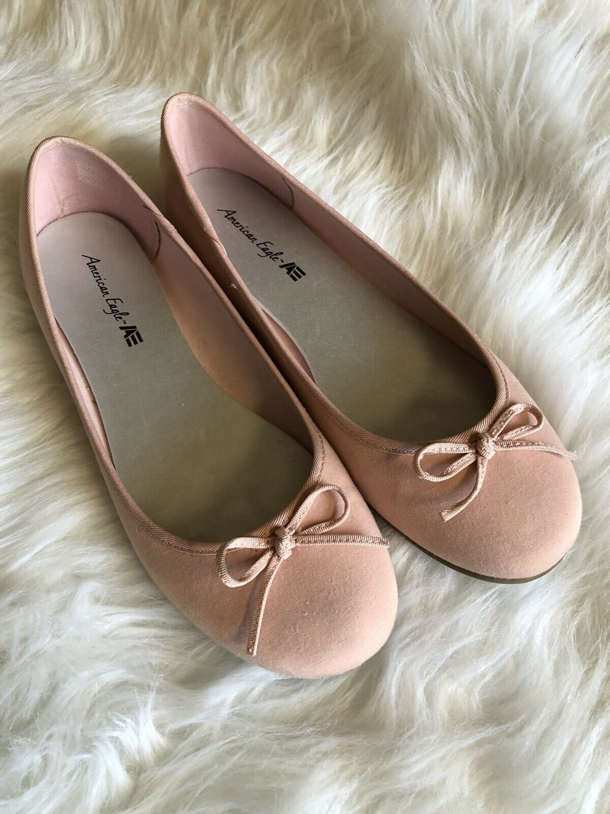 WOMEN'S AMERICAN EAGLE FLATS Blush PINK BALLET STYLE SHOES SIZE 7 FABRIC UPPERS