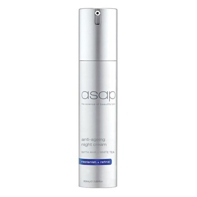 ASAP Anti Ageing Night Cream 50ml w AHA + White Tea Hydrates, Replenish & Refine