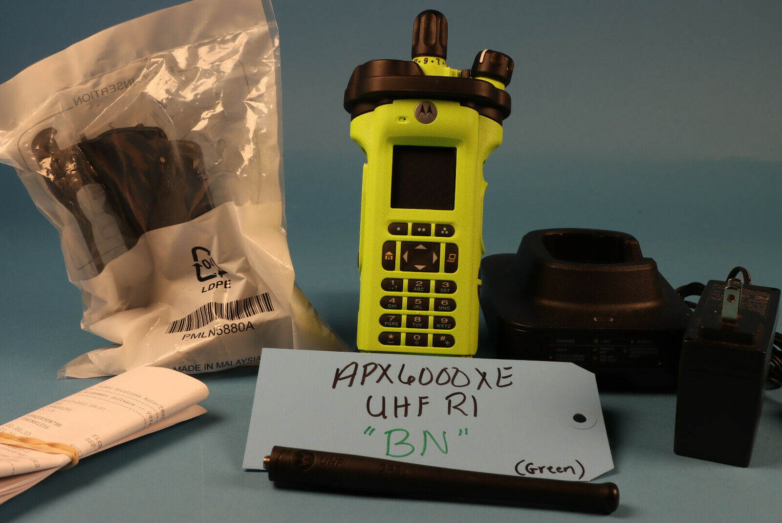 Motorola APX6000XE BN UHF R1 FPP w/ Green Housing Charger Ant *NoTags. Available Now for 2150.00