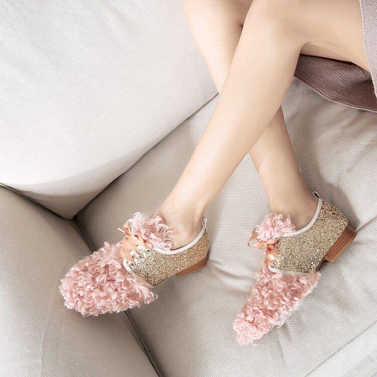 Womens Ladies Fashion Glitter Sequin Rabbit Fur Lace Up Flat Court shoes skea