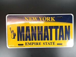 New-York-Manhattan-Plate-Metall-Schild-Metal-30-cm-USA-The-Empire-State