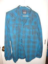 men's lg. sl. turquoise/black plaid shirt by StraightFaded size M