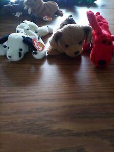 4 Ty Beanie Babies Dogs - Rover, Tuffy, Tiny, Dotty