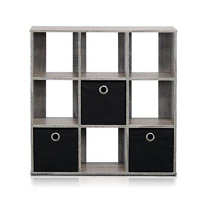 Furinno 13207GY-BK Simplistic 9-Cube Organizer w/Bins, French Oak Grey-Black NEW