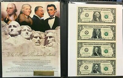 $1 1995 Federal Reserve Notes Handsigned 40th Treasurer Sheet of 4