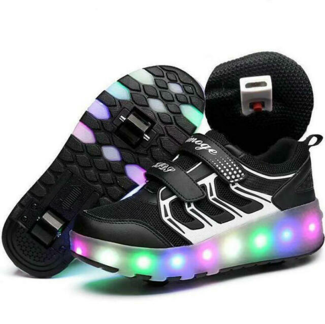 Kids Led Light Up Trainers Charge Lace Up Boys Girls Sneakers Wheeled Shoes Size