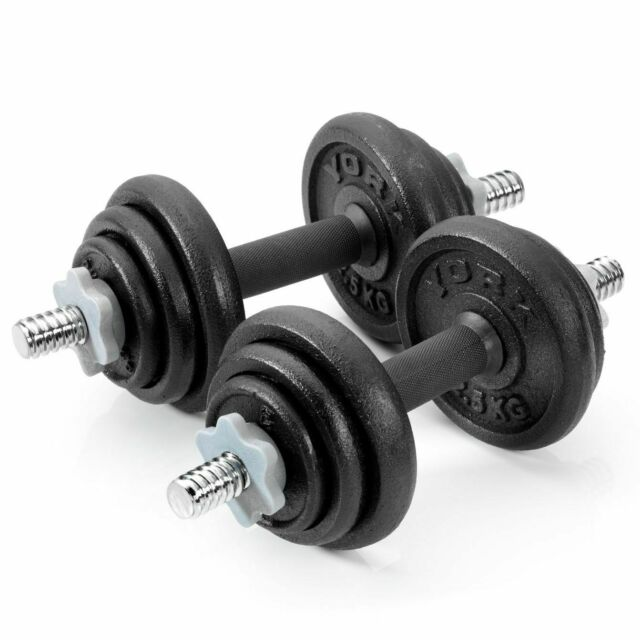 York 20kg Adjustable Dumbbell Set Round Black Cast Iron Spinlock Gym Weights