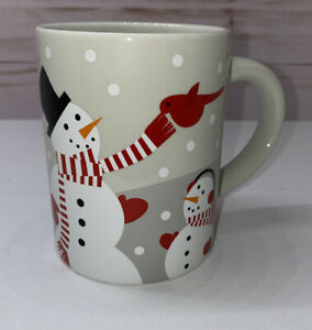 New-Crate-amp-Barrel-Snowman-Tea-Cup-Ceramic-Coffee-Mug-Bird-Joan-Anderson-2017