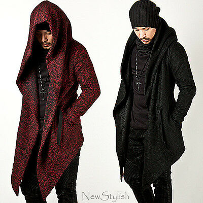 NewStylish Mens Fashion Tops Jacket Outwear Diabolic Hood Cape Coat (Black/Red)