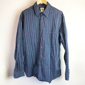 Lacoste-Mens-Shirt-Button-Down-Size-45-17-3-4-Blue-Green
