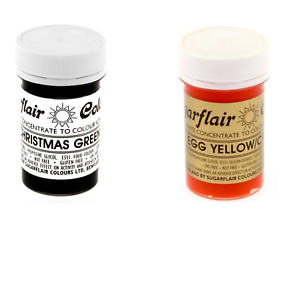 Details About Sugarflair Paste Gel Edible Food Colouring Colours Icing Xmas Green Egg Yellow