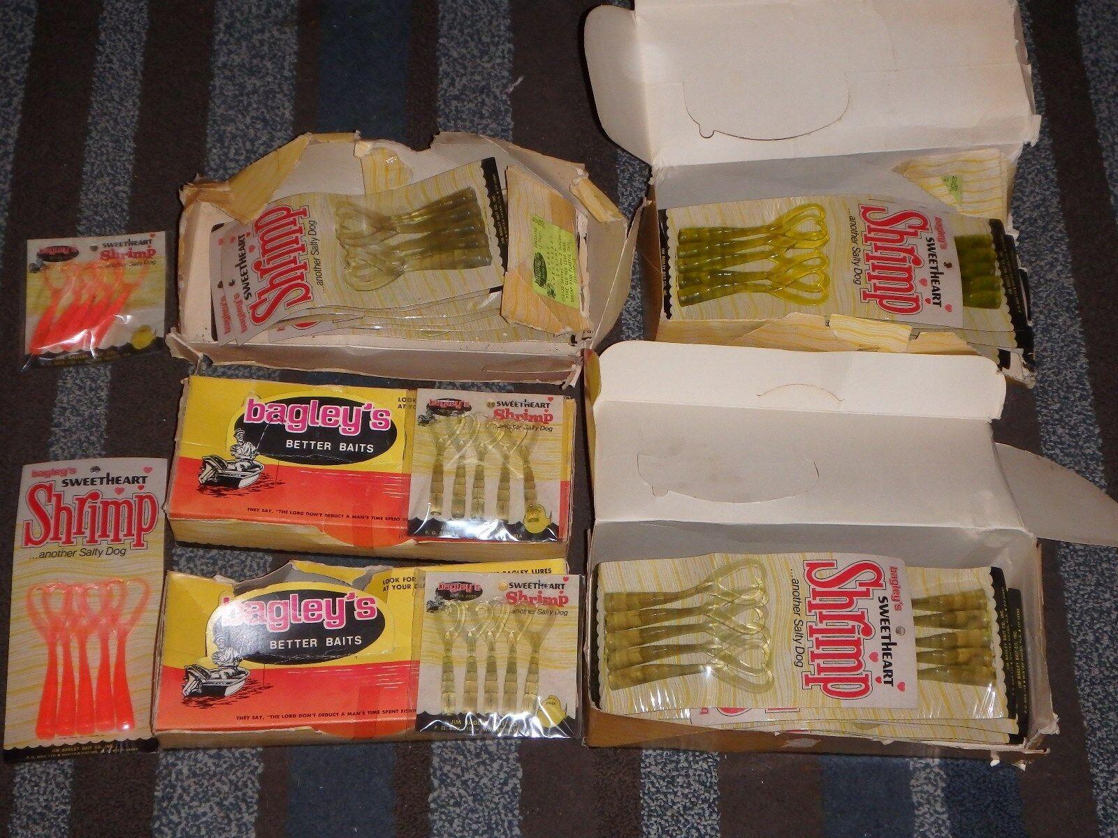 Enorme Lote de Bagley's Sweatheart camarón Colas De Goma Raro Señuelos Cebos Coleccionable