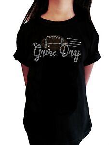"Girls Rhinestone T-Shirt "" Game Day Football "" in All Sizes"