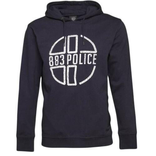 POLICE 883 New Navy Mens Hoodie Branded Front Graphic Two Separate Pockets BNWT